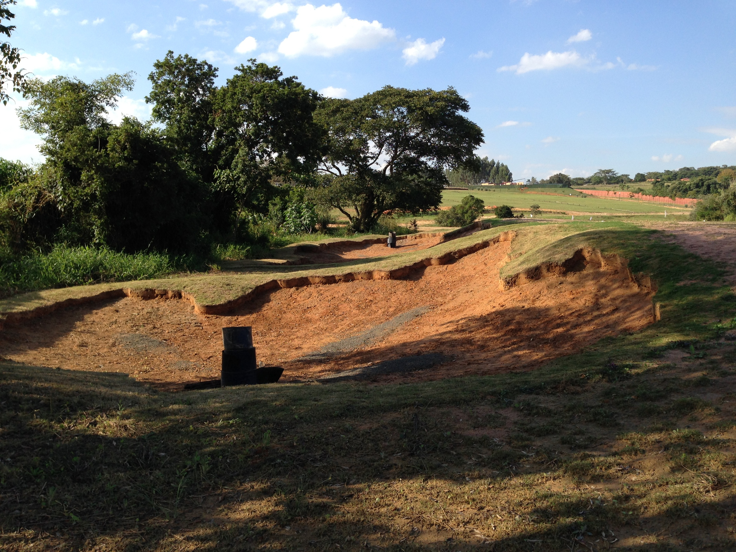 Hole 8 green side just after the plastic storm erosion liner had been pulled.