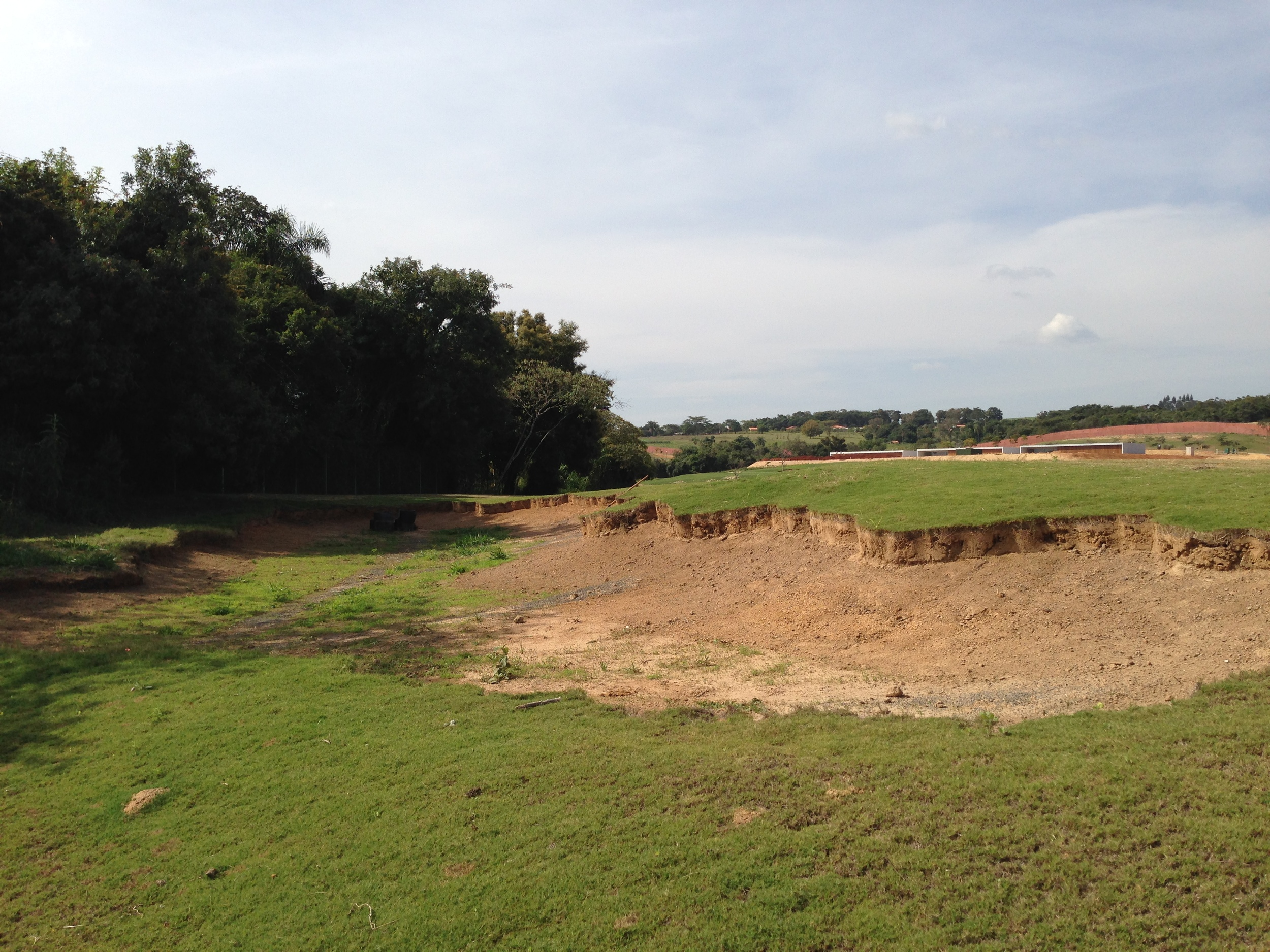 Hole 8 fairway bunker just after liner pulled and before any work done to it.