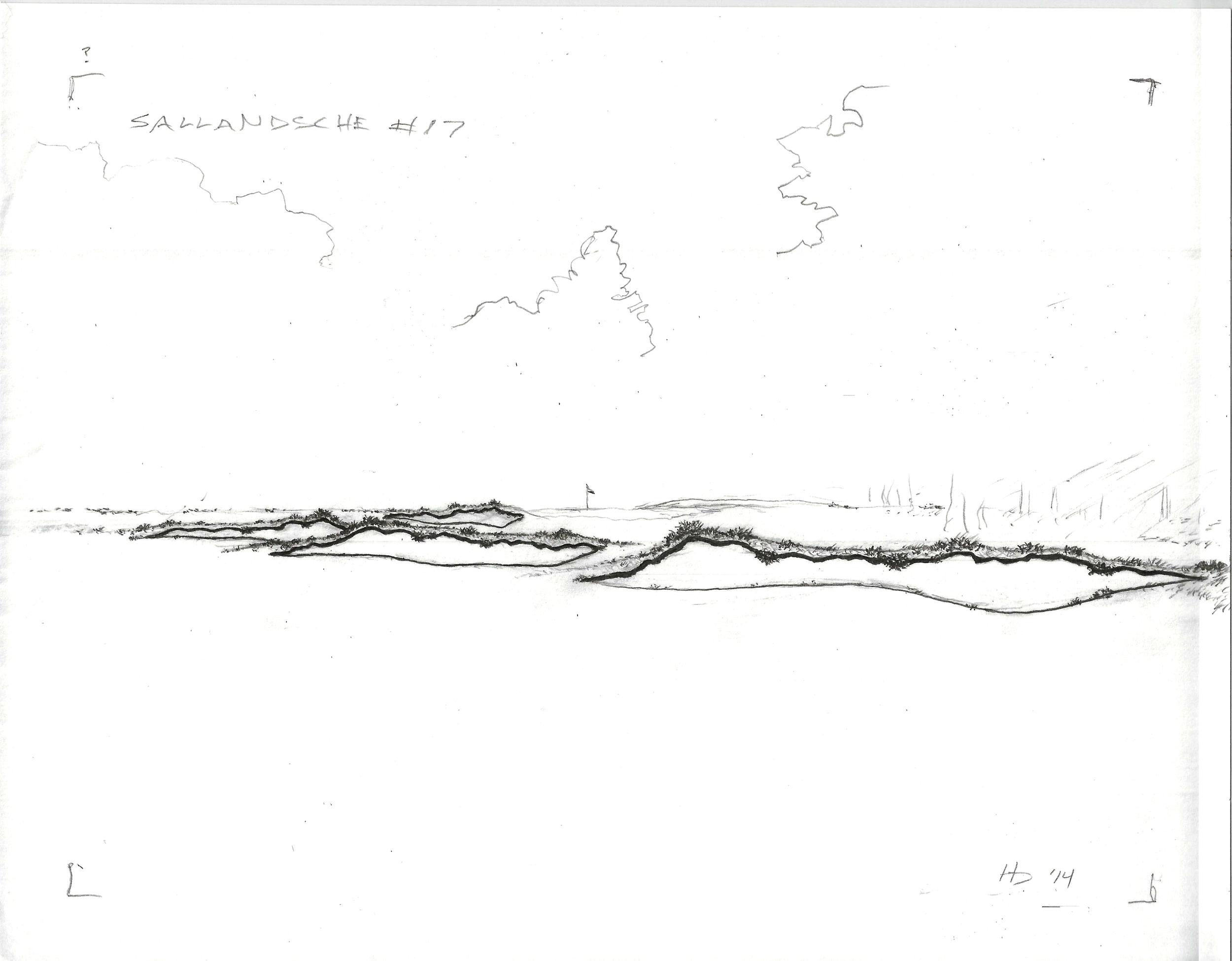 Proposed stylistic rendering for the bunker work at Sallandsche.  The style called for flashed sand with naturally textured edges and a horizontal nature fitting of the site.