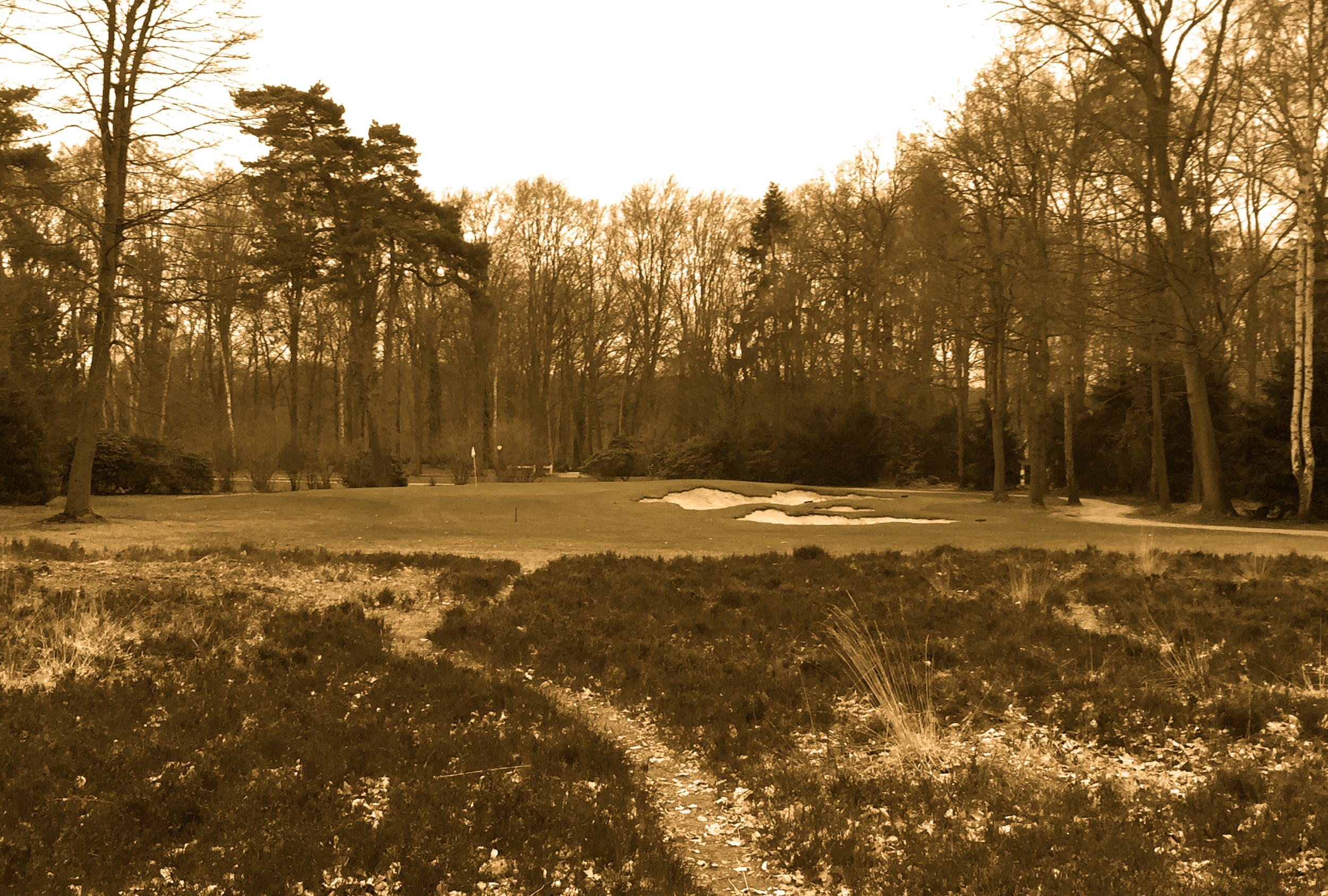 Hole 9 after image with antique filter for effect.  Also like the 2nd hole, a cape was used to give the illusion of three bunkers when there is only one.