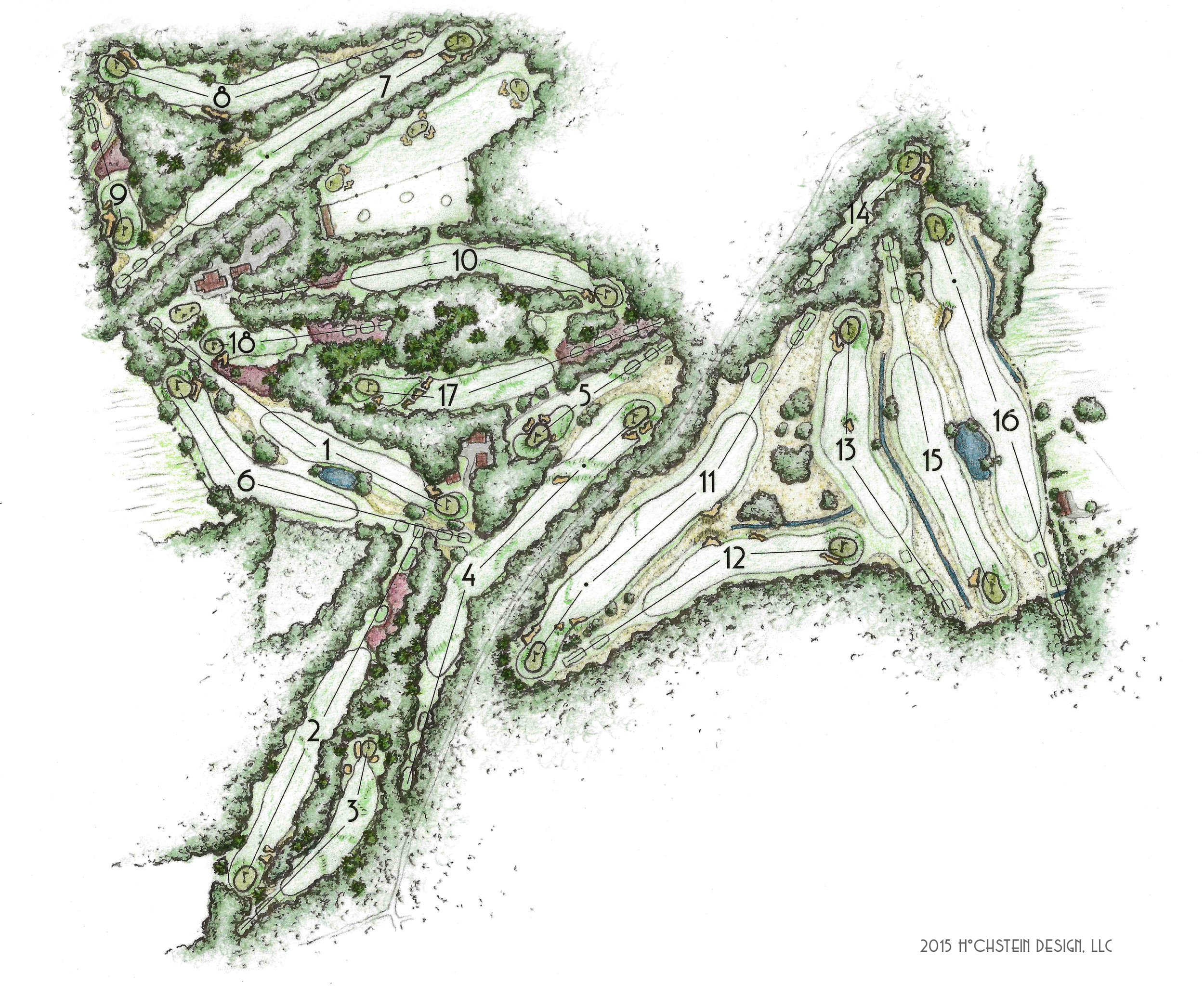 A new plan of the renovated bunkers and grasslines at Sallandsche drawn by Hochstein Design for the 2015 scorecard.