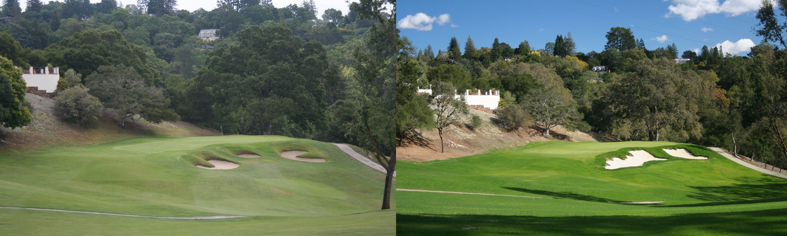 Hole 4 at Orinda, before and after new bunker scheme