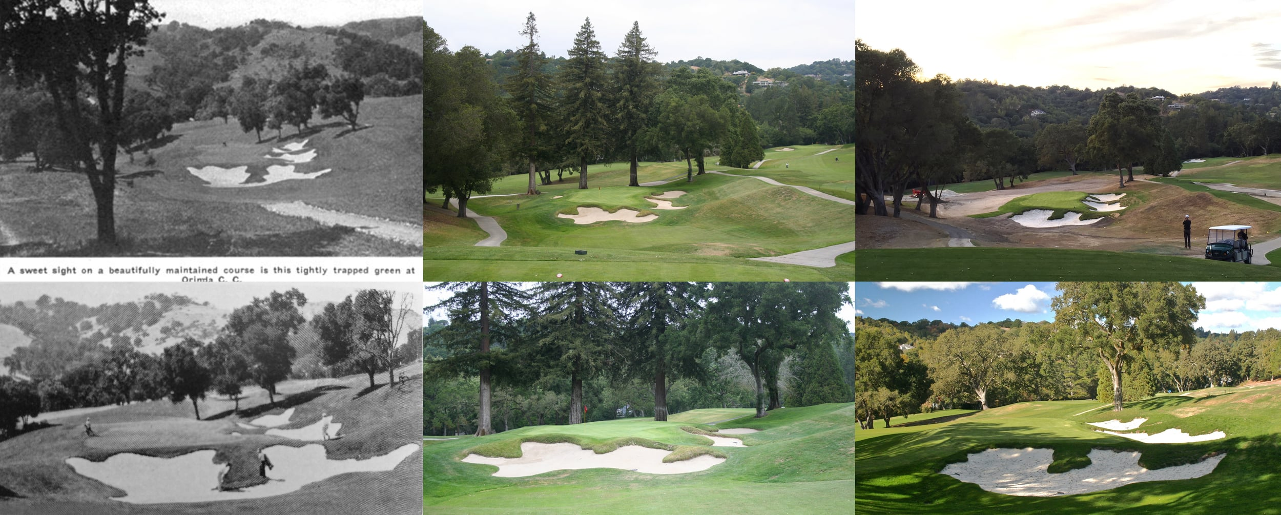 Original, before, and after of the 8th hole at Orinda