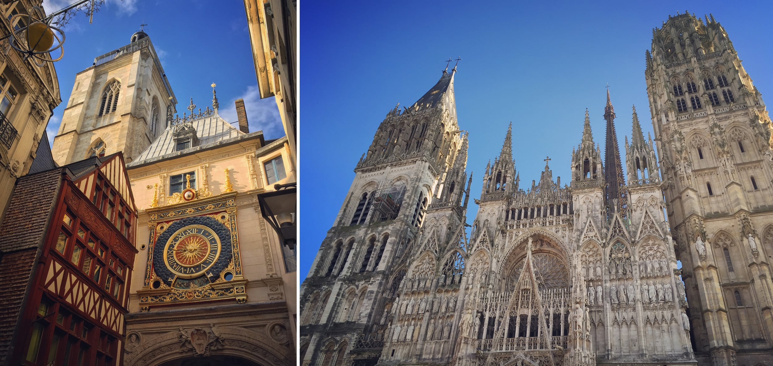 The Gros Horloge, a Renaissance-era astronomical clock, and Cathedral Notre Dame du Rouen in Rouen, France