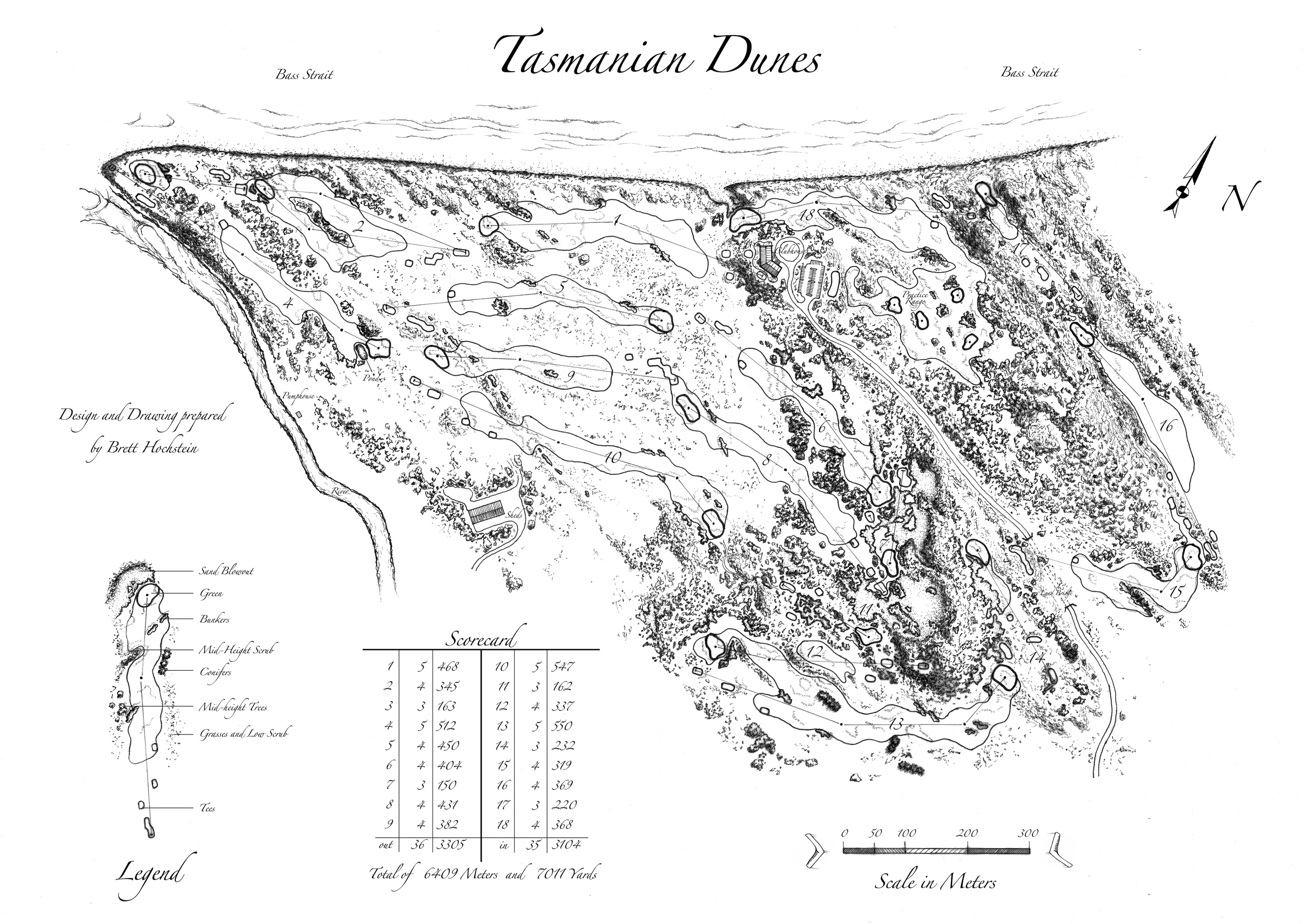 """Conceptual routing for Bill Coore and Ben Crenshaw's """"Lost Farm"""" in Tasmania. Topographic map was given courtesy of associate Dave Zinkand and course owner Richard Sattler."""