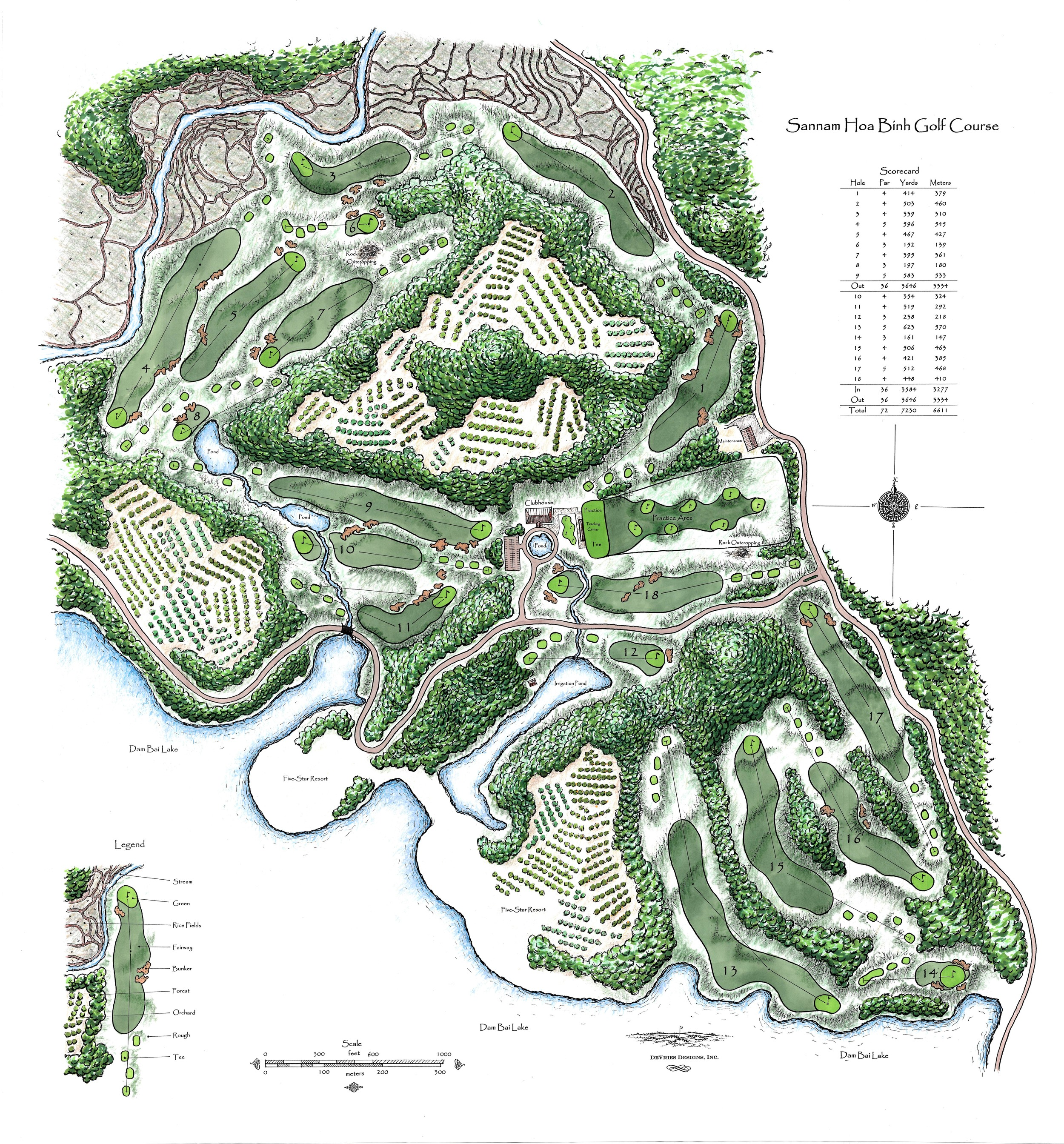 Plan drawing for a proposed Vietnamese project by golf architect Mike DeVries.