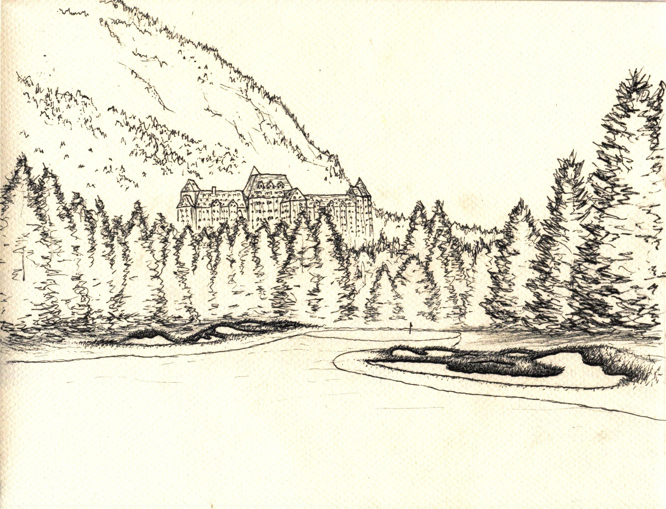 Sketch of Banff Springs with it's iconic setting and hotel.