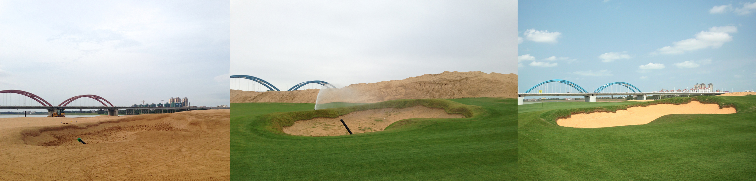 The bunker finish process: rake and shovel finish, grass grow-in, and final edge cutting.