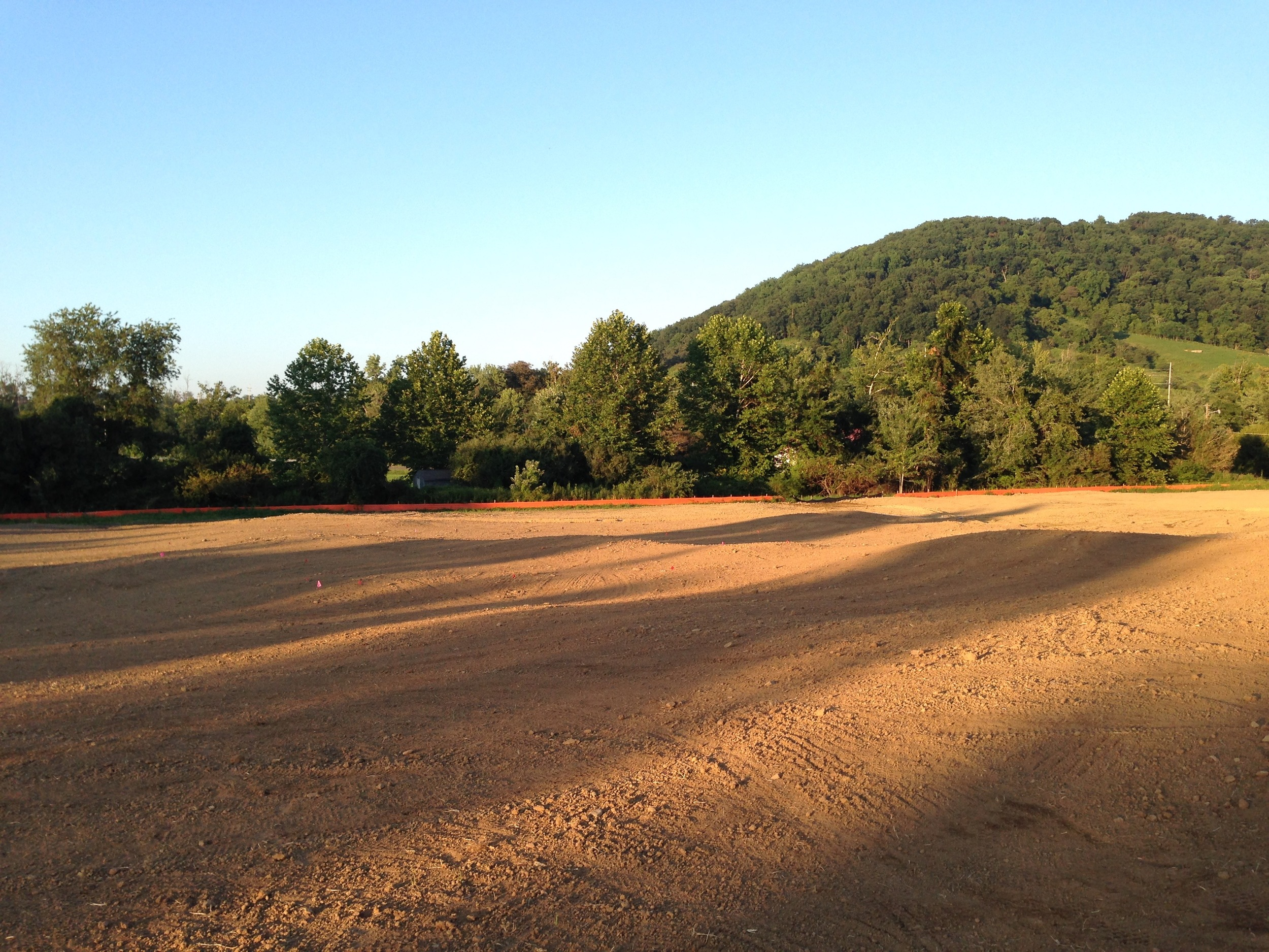 Construction contouring on the lower end of the property, where the small and tricky 5th and 6th greens sit.