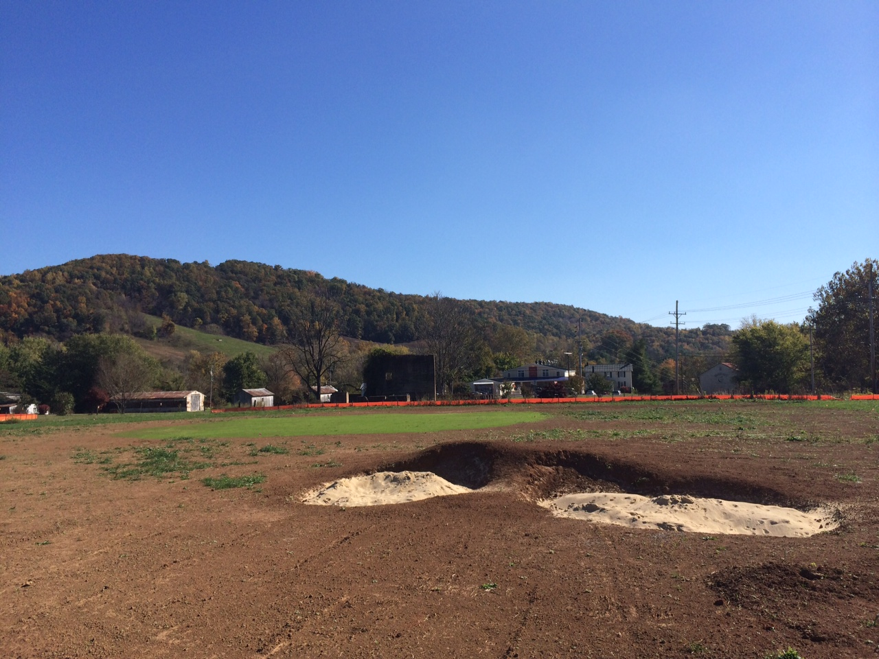 The 3rd hole is the only hole on which we did not have to strip the topsoil because we thought the existing contours only needed the slightest of changes. The slightly crowned fallaway green is much trickier than it appears. (Image: Mike McCartin)