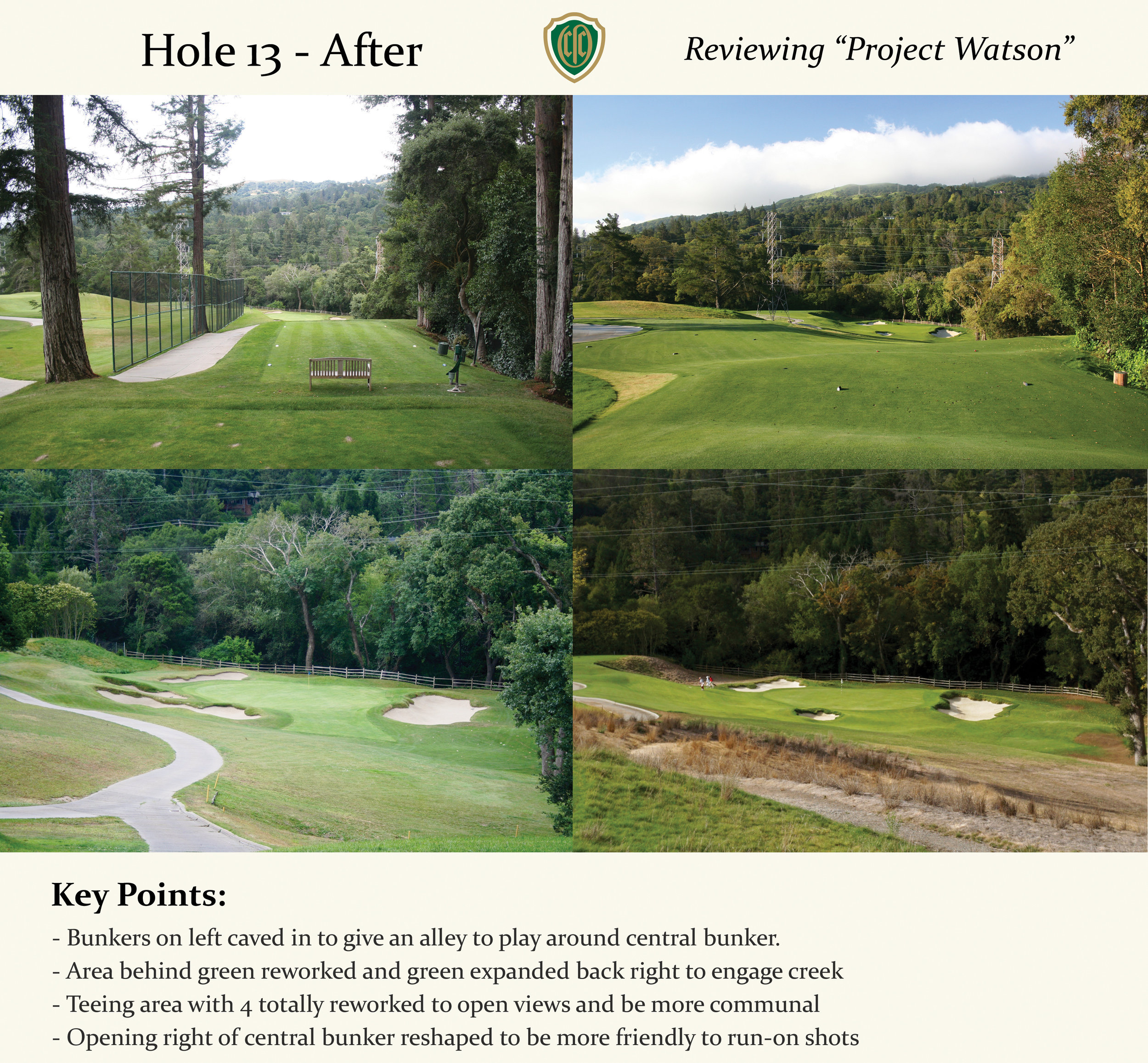 A lot of work also took place at the tees, as one can see in the two top images. Clutter in the form of trees, fences, retaining walls, and excess cart path was all removed as the tees from 13 and 4 were joined together in the same complex. Reshaping also added visibility to the green, which was mostly blind before from the back tees. This is fantastic work overall by Eckenrode and the contracting team at Earth Sculptures.