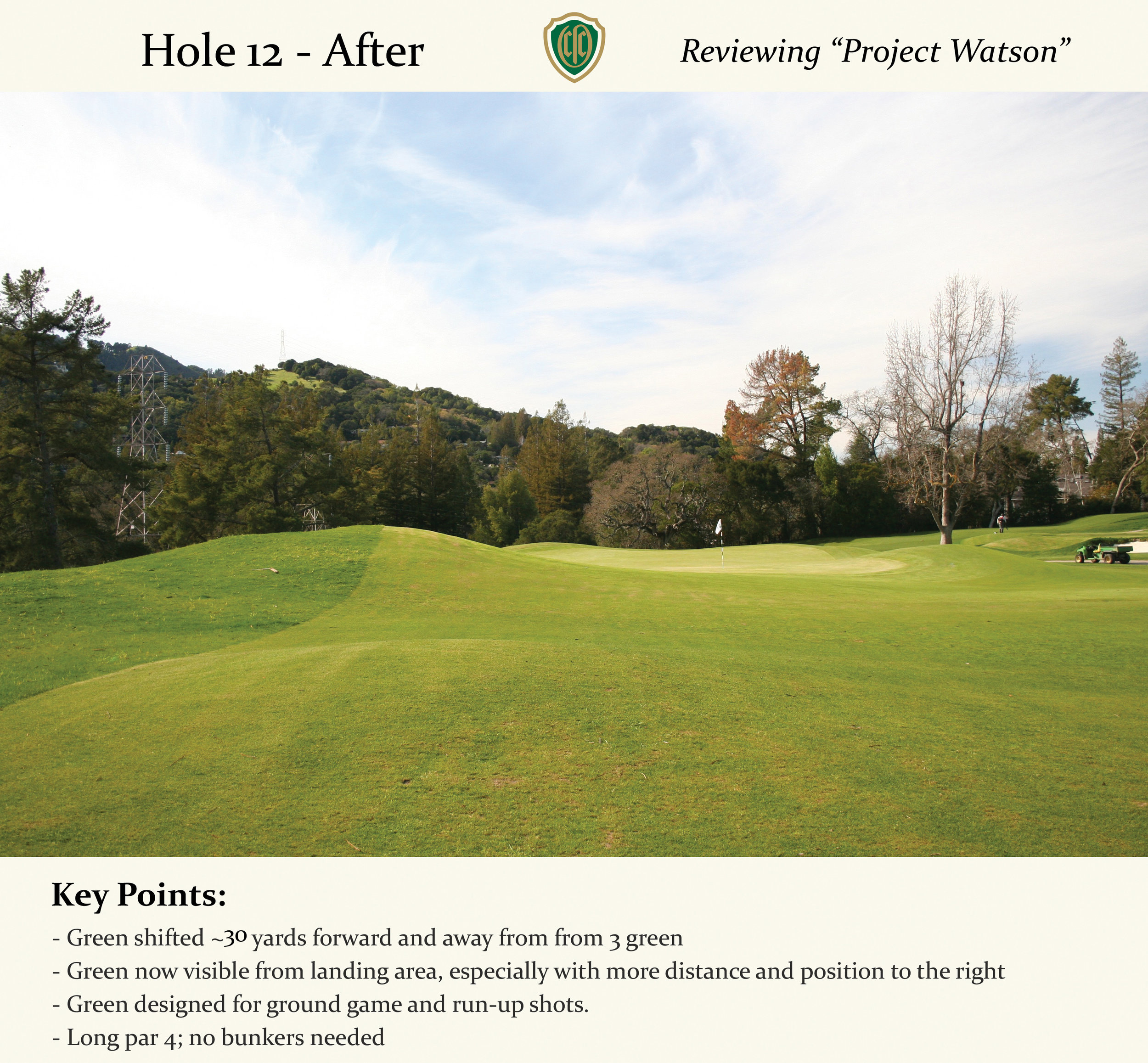 """Now a long par 4, attacking the bunkerless green complex with a running shot is a fun exercise. Play it off the left kicker but don't veer too far to the big dropoff. A safe bailout right leaves a tricky up and down over the right side contours, which, if you are on line with your approach, will help you stay on the green. They are both """"helping"""" and """"hurting"""" contours."""