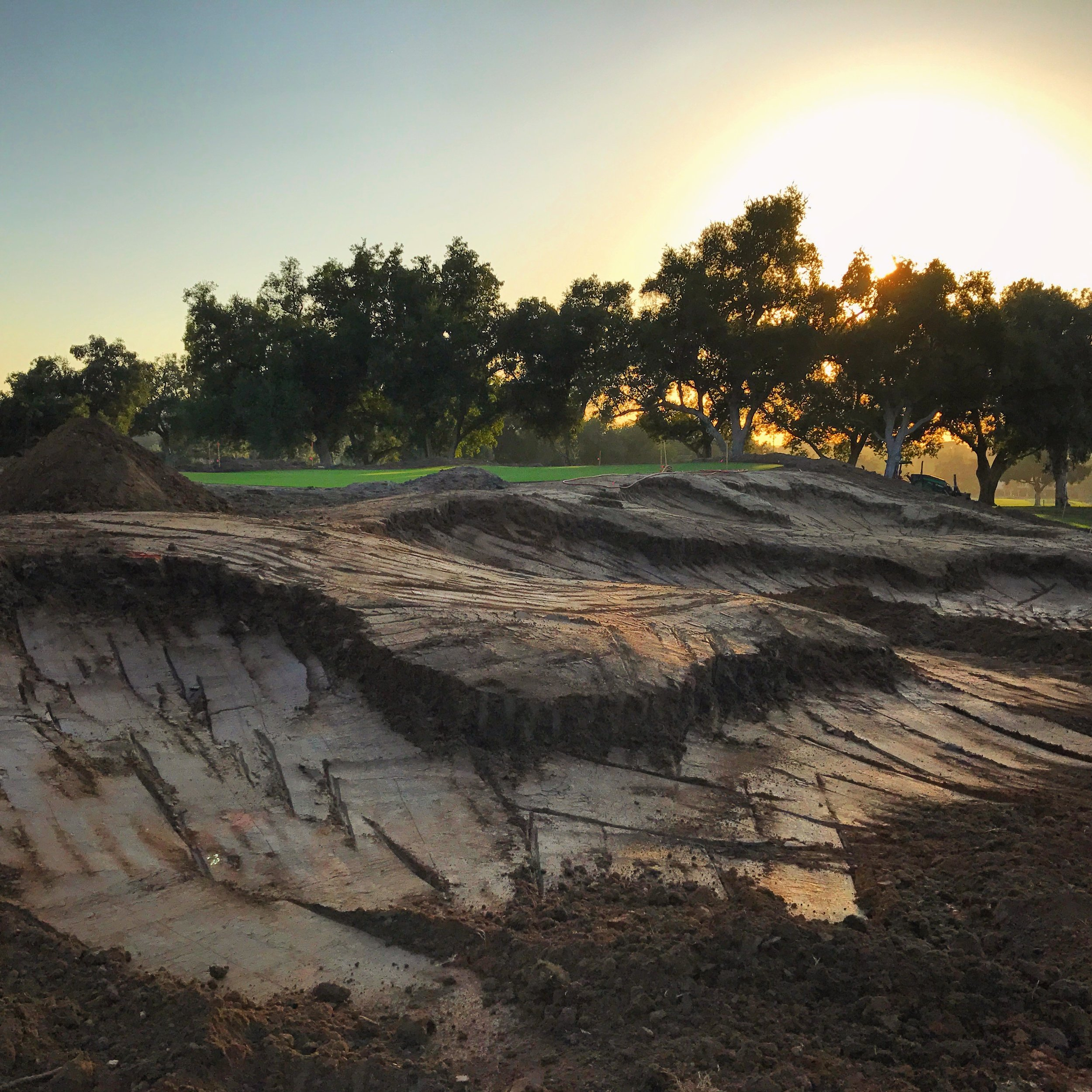 Hole 3 MacKenzie bunkers during shaping--aligning all the high points.