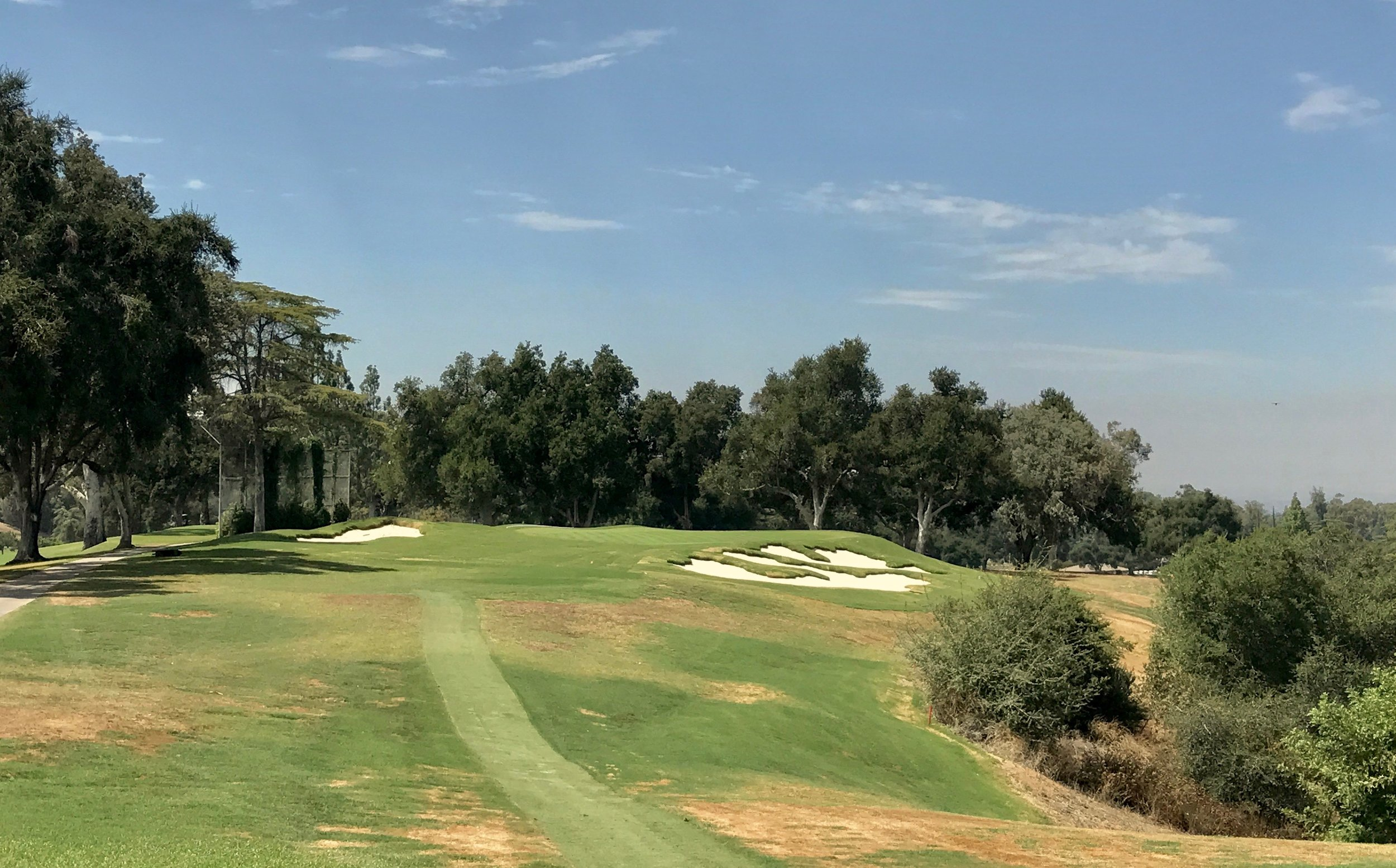 The view from the forward tee shows how the hole sets up and finishes with a big view out to the right.