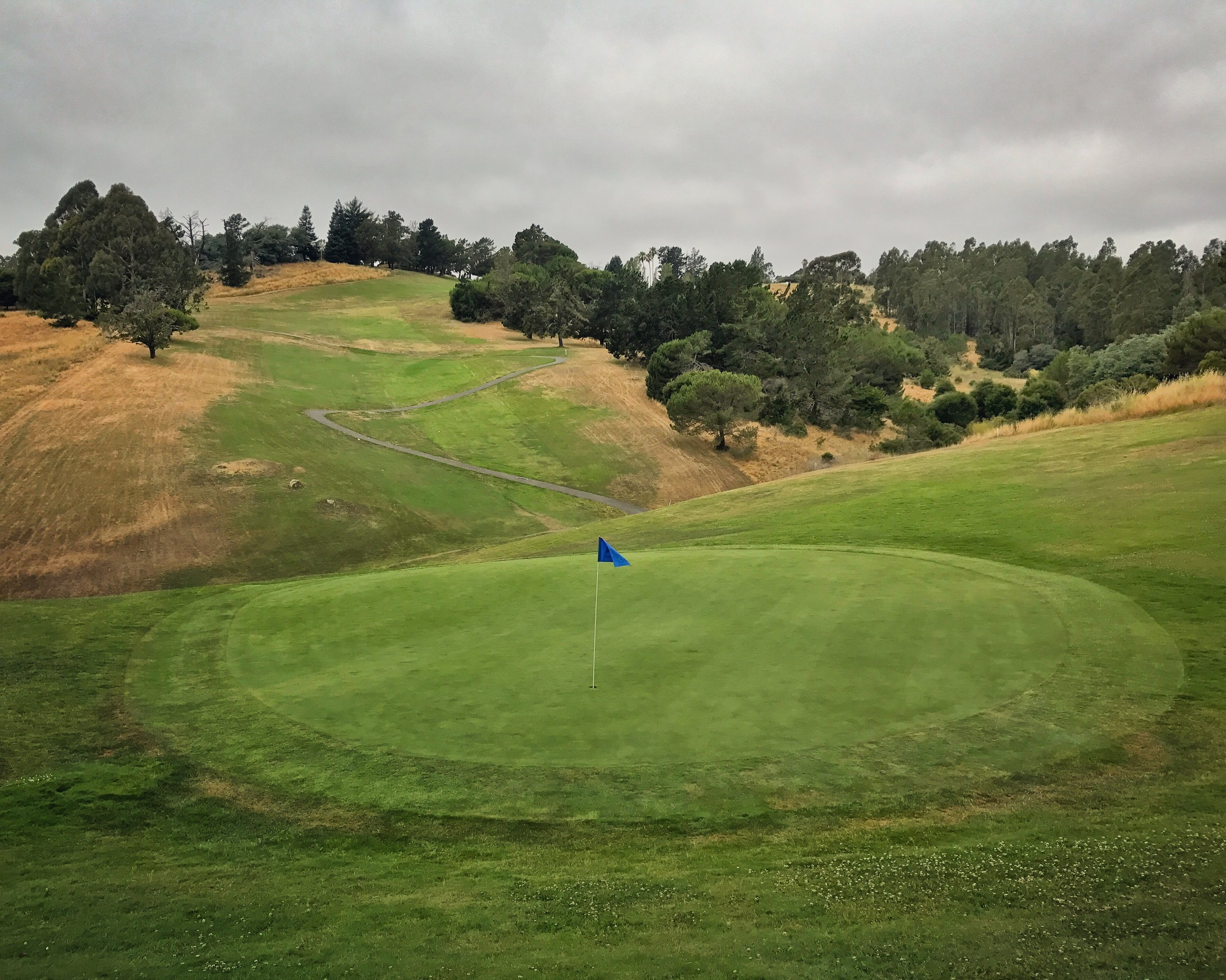 The super long, super downhill 18th at Lake Chabot has been classified a par 6.