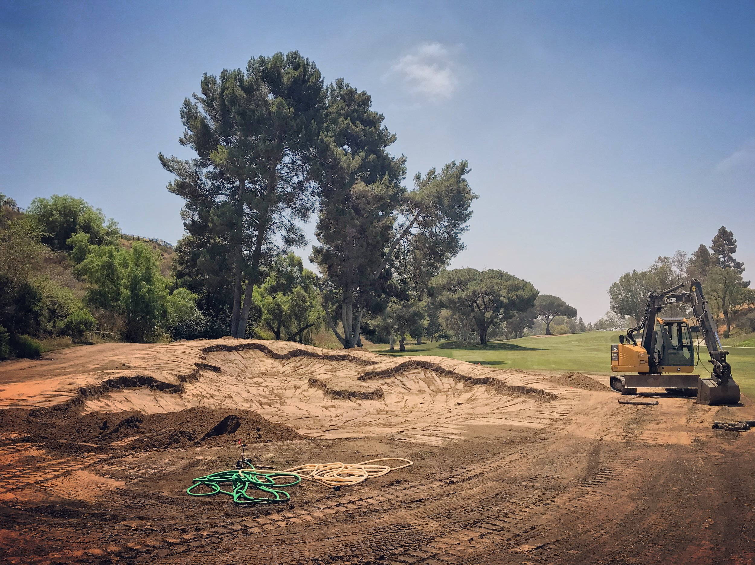 The biggest bunker on the course, the 18th hole fairway bunker was one of the more fun ones to build.