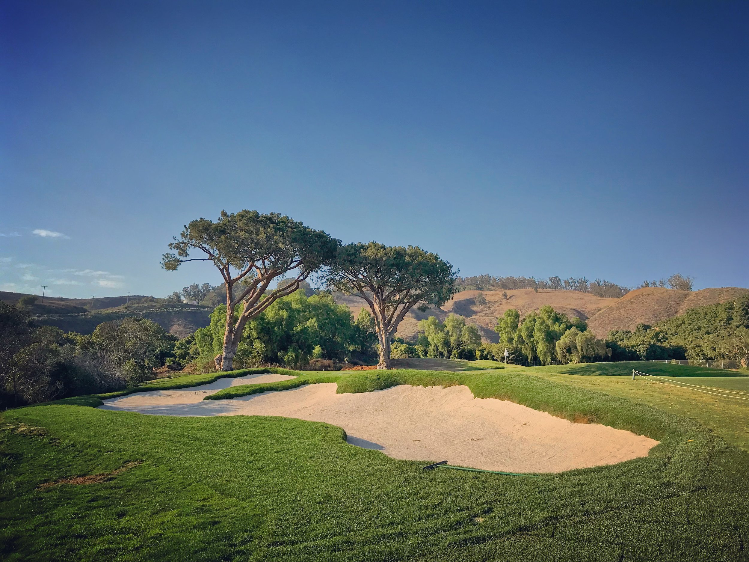The reshaped greenside bunker on the 14th at Saticoy.
