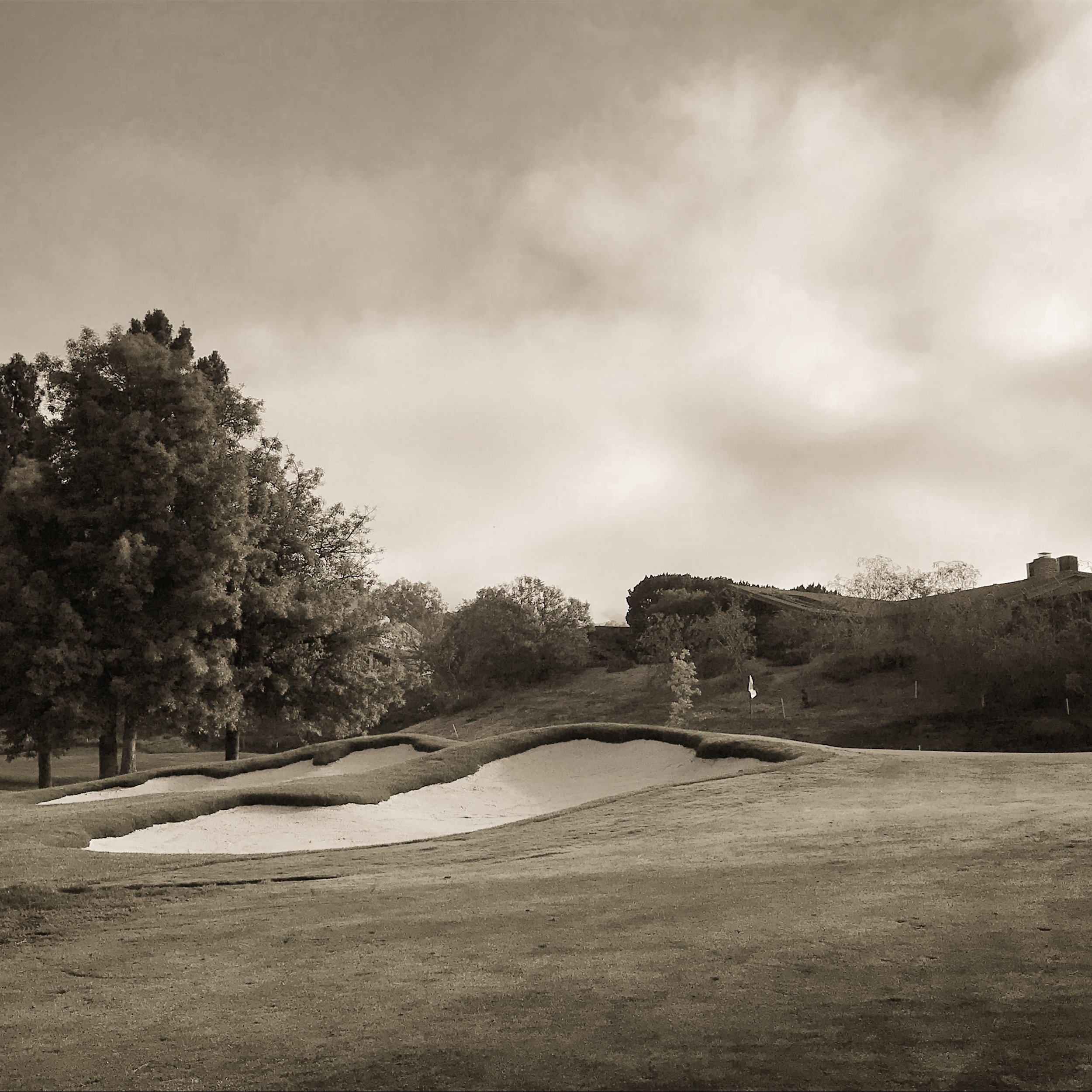 The pair of greenside bunkers at the 12th