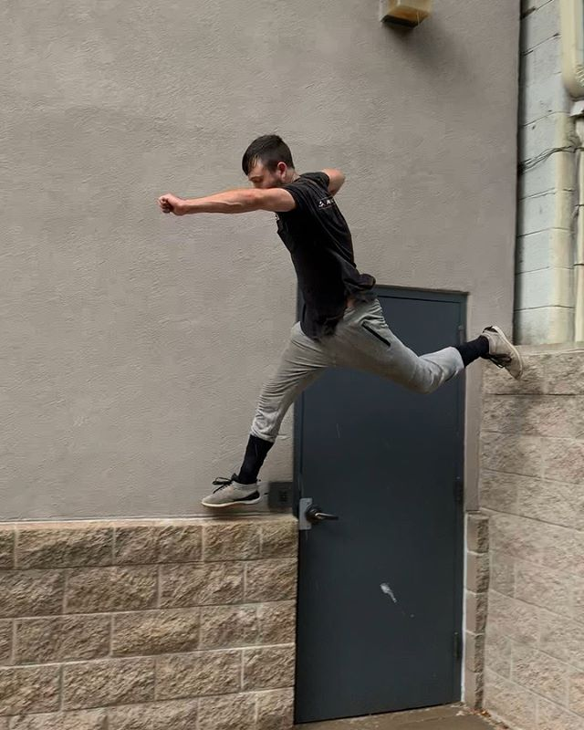 """My favorite part of this course was the """"precision run / branch swatting."""" That's the technical terminology anyway.  Also, if you're not already, you are absolutely capable of having these skills. Over 13 years and a lot of collaboration went into designing the step-by-step online courses I co-created. Link in bio to start your parkour journey with me.  Or if you're a parkour coach looking to increase your knowledge and methods, this investment will pay itself back 100 times over.  Much love to all the support so far! 📹 & co-course design: @ryanmford  @tlynncarpenter  #ParkourEDU #APEXSOM #obstaclecourse"""