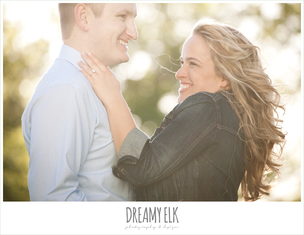 couple laughing, heather and clint, rustic engagement photo, college station, texas