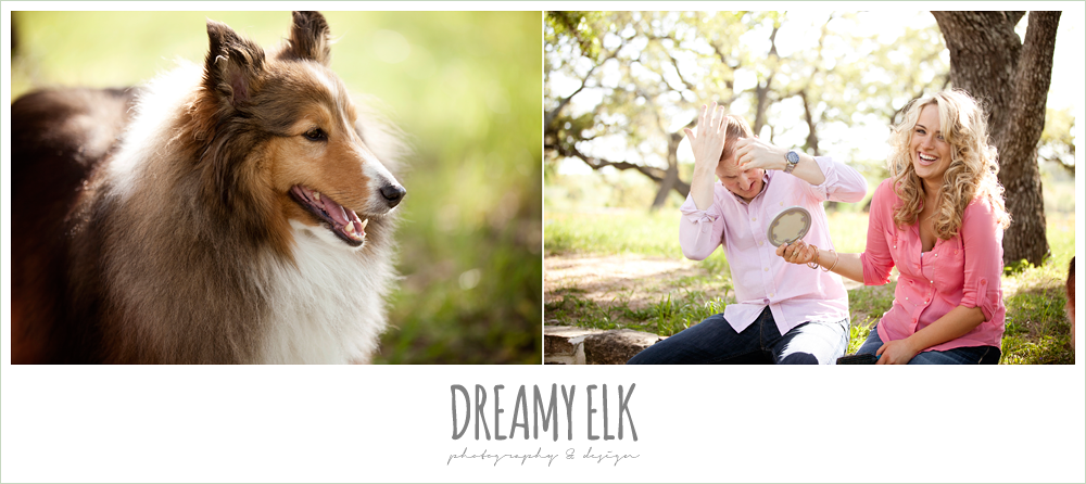 heather and clint, funny engagement photo with dog, college station, texas