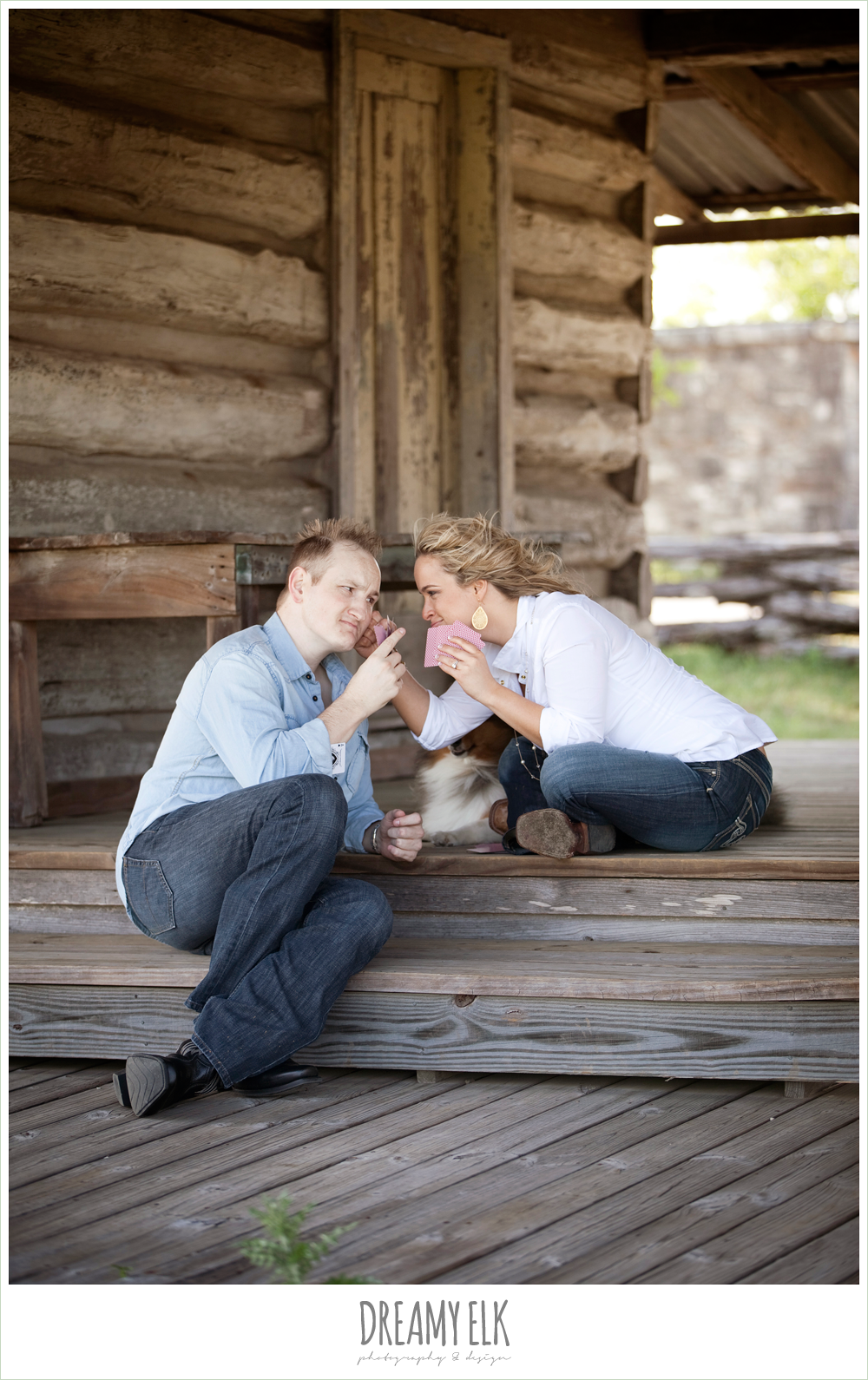 heather and clint, rustic engagement photo playing poker, college station, texas