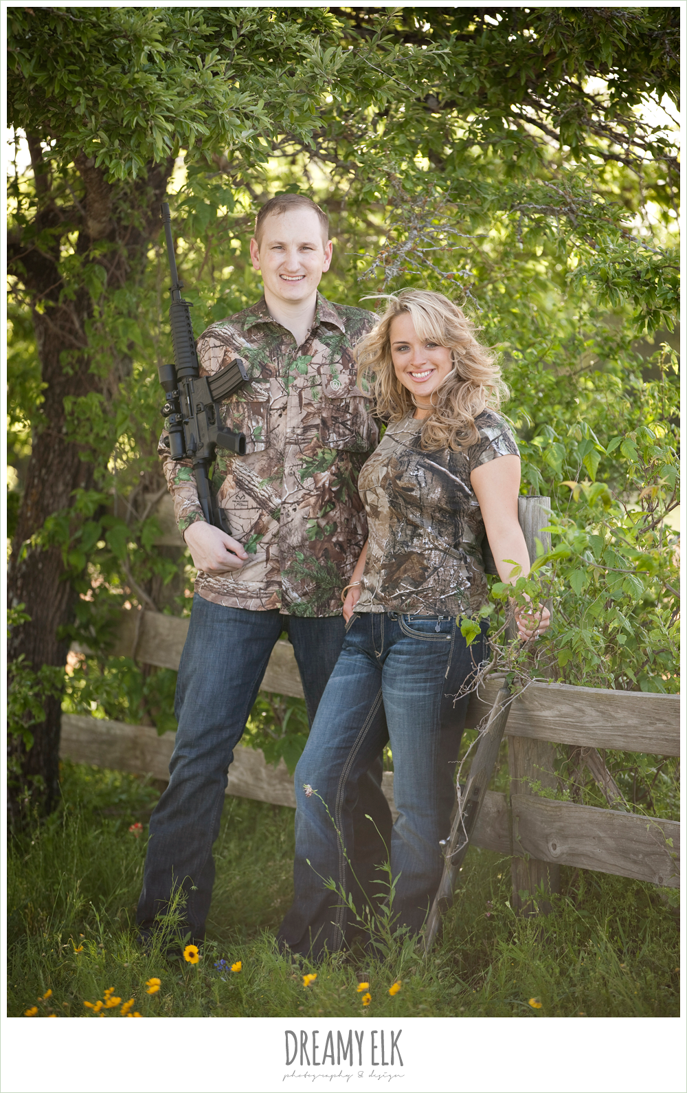heather and clint, engagement photo in camo with guns, college station, texas