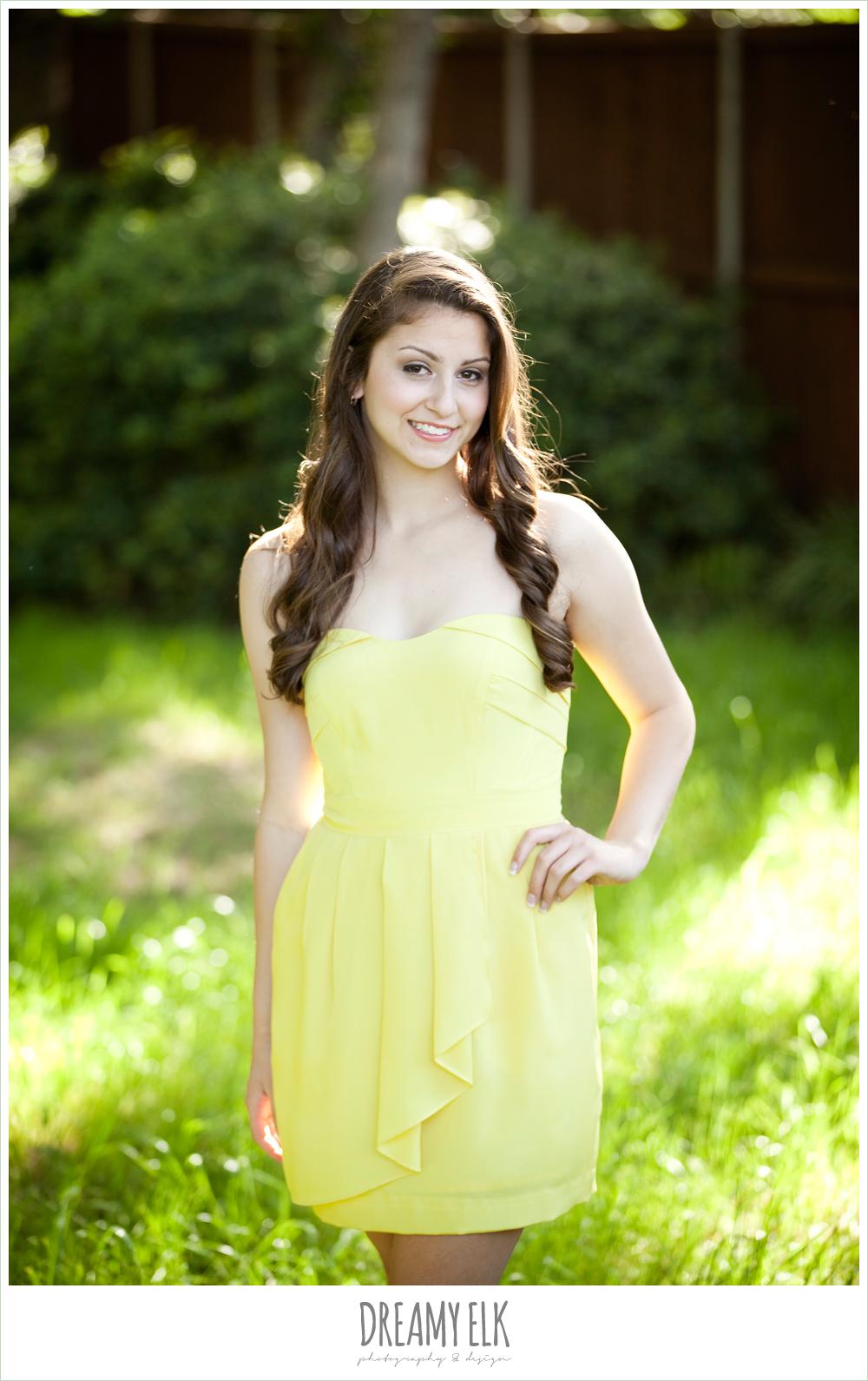 evan high school senior yellow dress