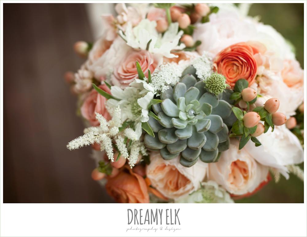 peach, pink, white, succulent wedding bouquet