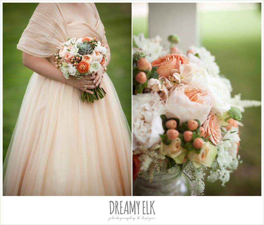 champagne wedding dress, succulent wedding bouquet