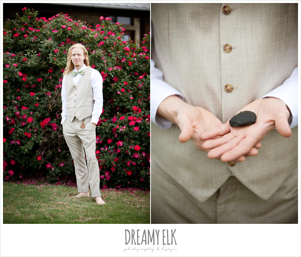 groom in linen suit, vest and bowtie