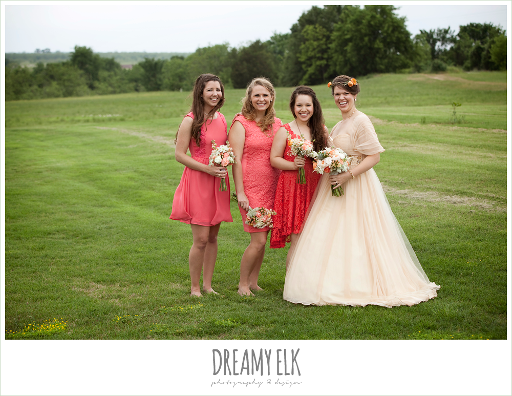 coral bridesmaids dress, champagne wedding dress