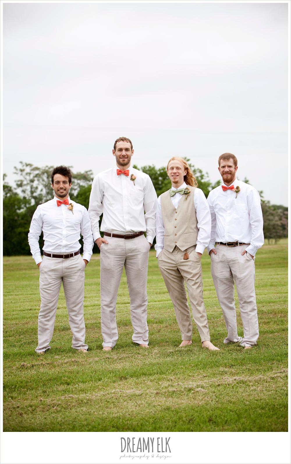 barefoot groomsmen in linen, coral bowtie