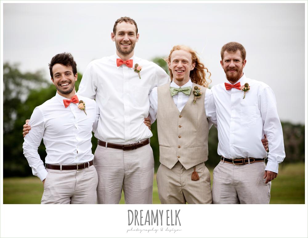 groomsmen in linen, coral bow ties