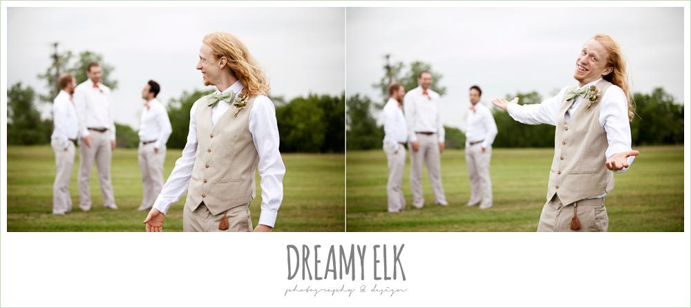funny groomsmen photo, groom in linen vest and green bow tie
