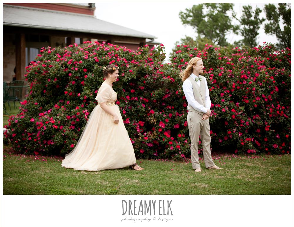 first look, bride walking up to groom