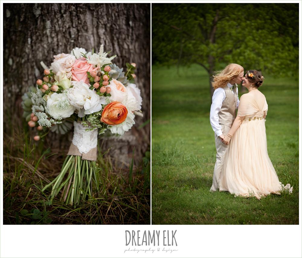 champagne wedding dress, linen suit, succulent wedding bouquet