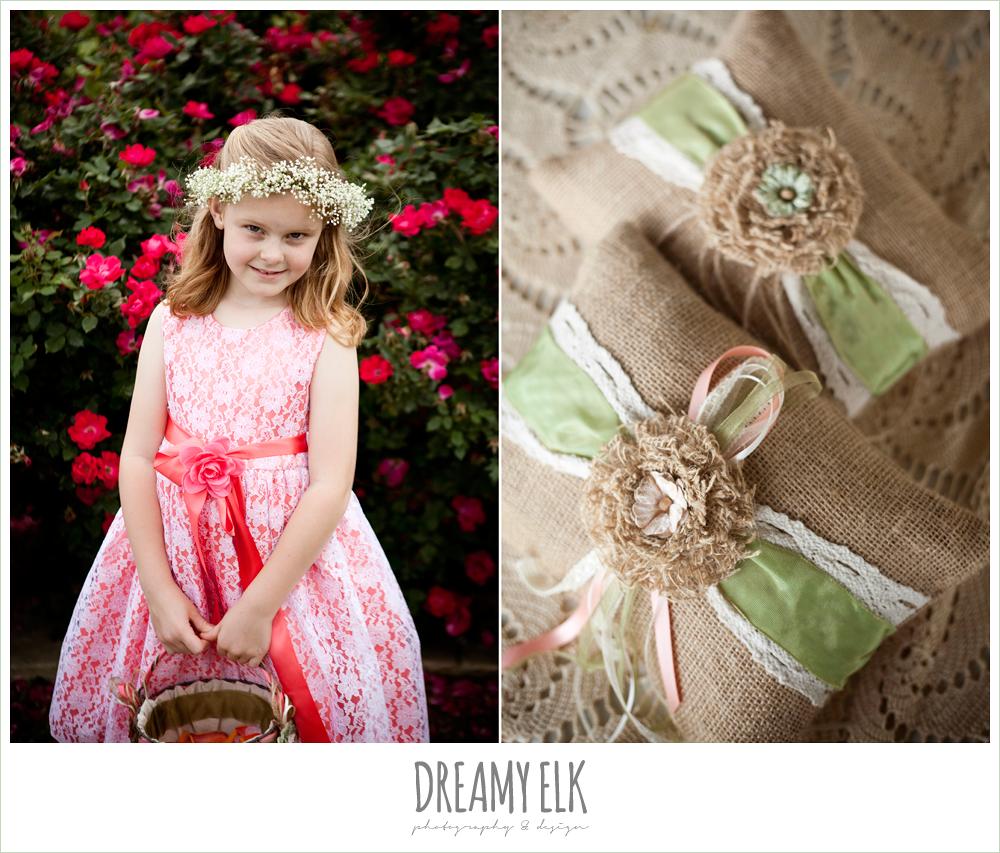 baby's breath flower wreath for flower girl, burlap covered ring pillows