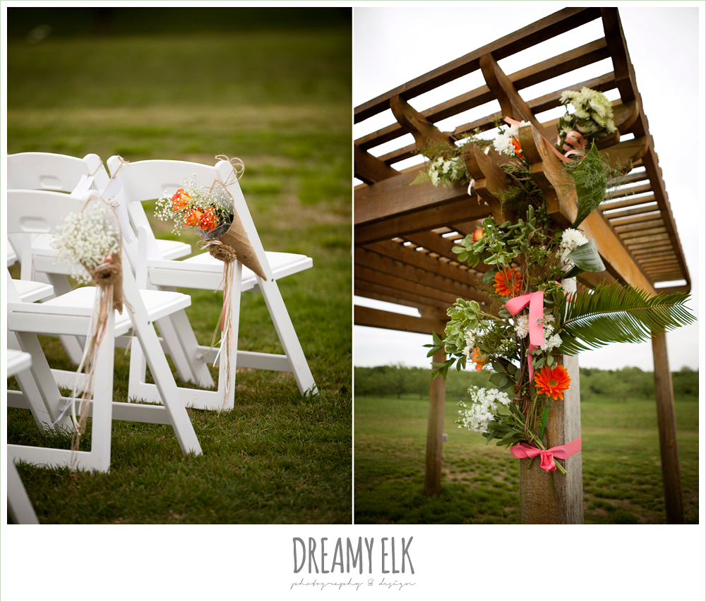 outdoor ceremony space, pink and orange flowers, flower covered archway