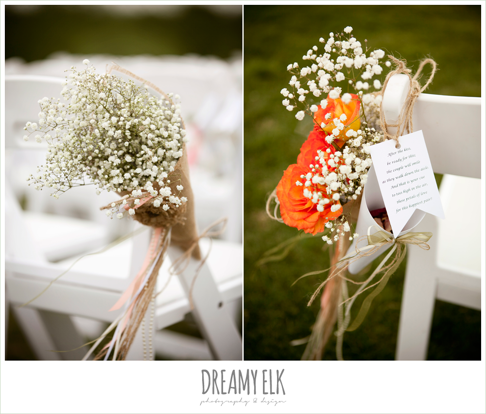 aisle marker, outdoor ceremony, baby's breath