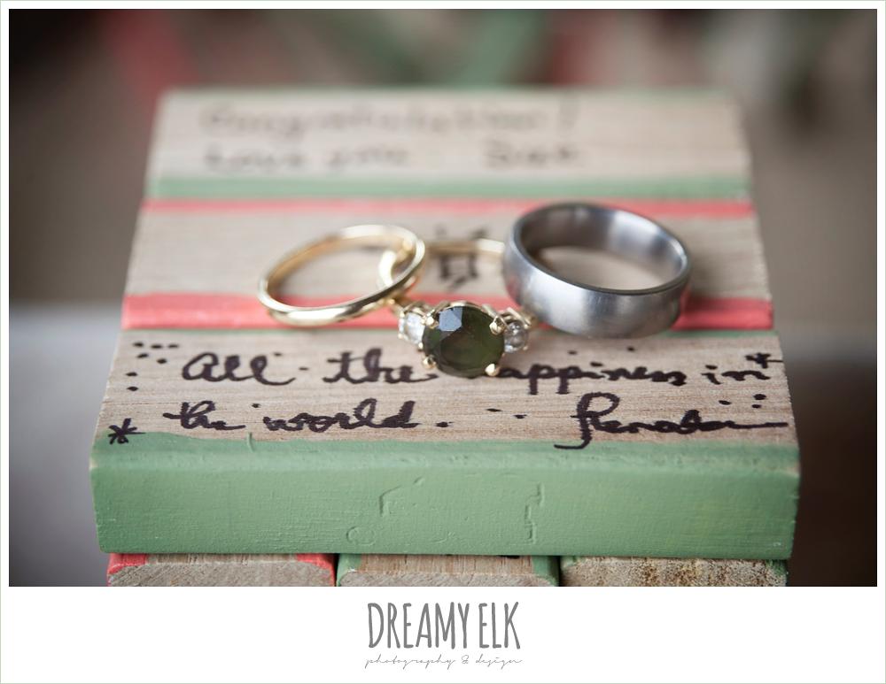 wedding rings on jenga pieces