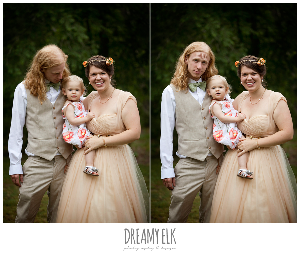 bride, groom, and daughter