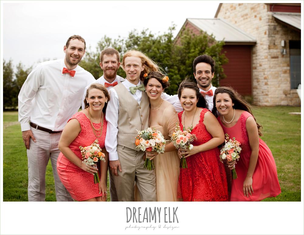 coral bridesmaid dress, champagne wedding dress, bridal party