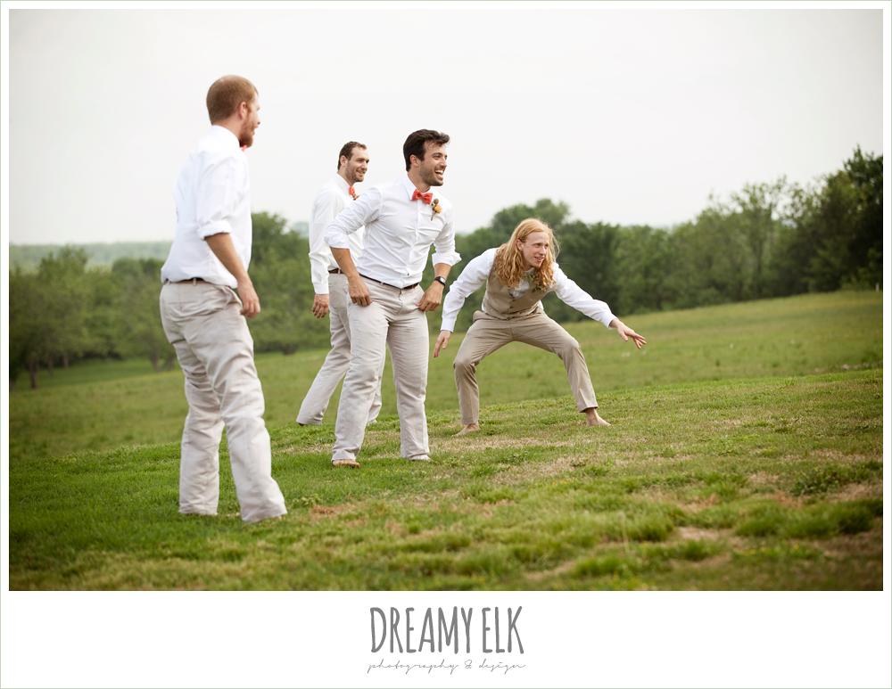 bridal party playing football