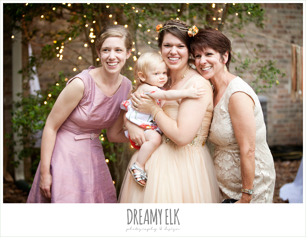 bride with sister, mom, and daughter