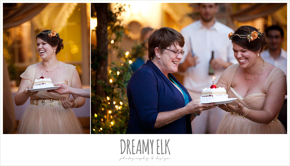 bride giving guest a birthday cake