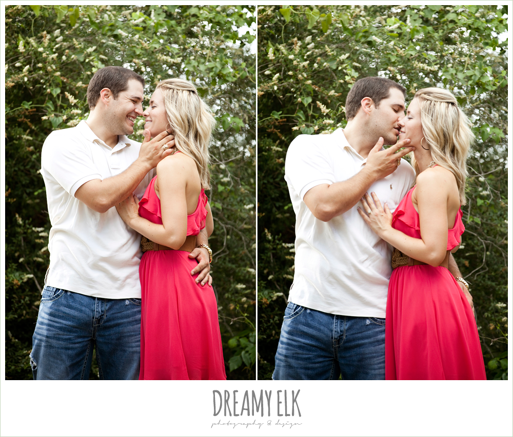 funny and cute engagement photo, couple kissing and laughing