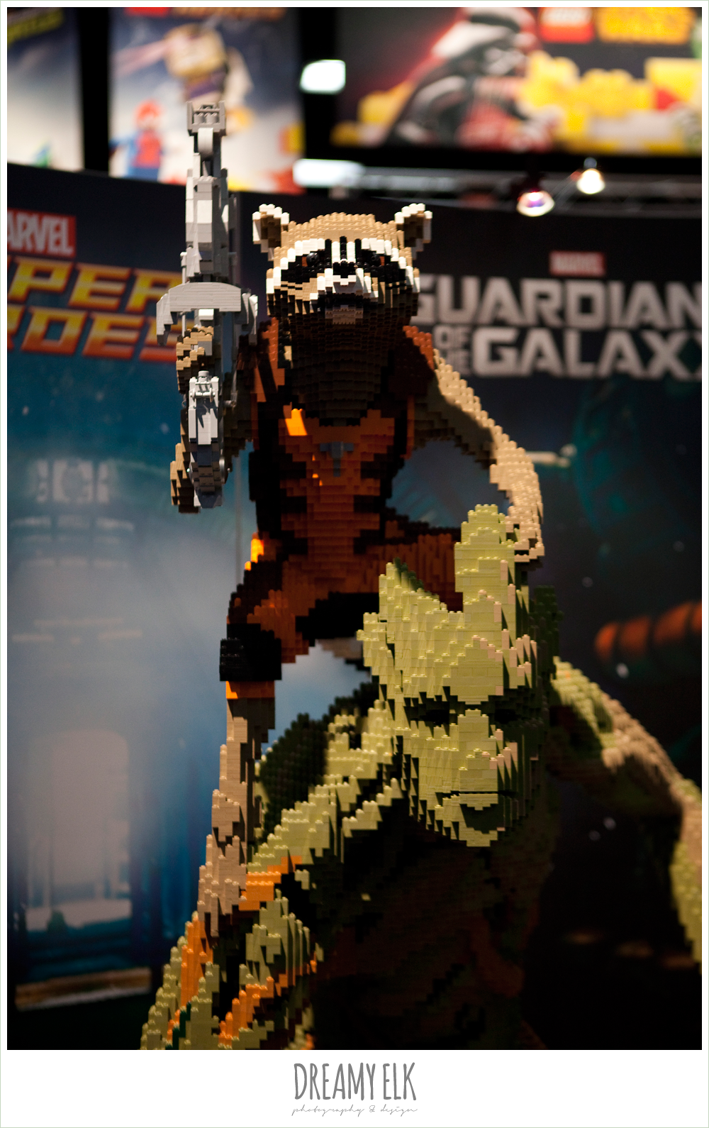 rocket raccoon and groot made out of legos, comic con 2014