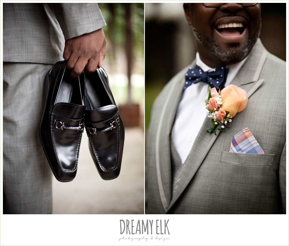 groom's shoes, orange and pink boutonniere, gray suit and navy bow tie, northwest forest conference center, dreamy elk photography and design