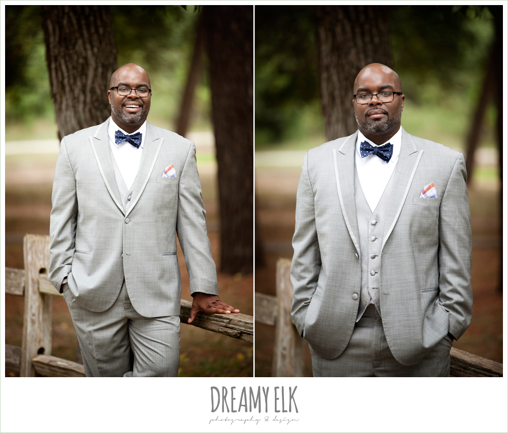 gray suit with navy bow tie, northwest forest conference center, dreamy elk photography and design
